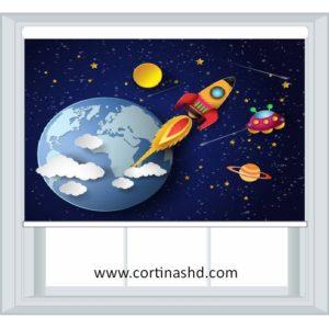 cortinas roller fotograficas cohete en el espacio print